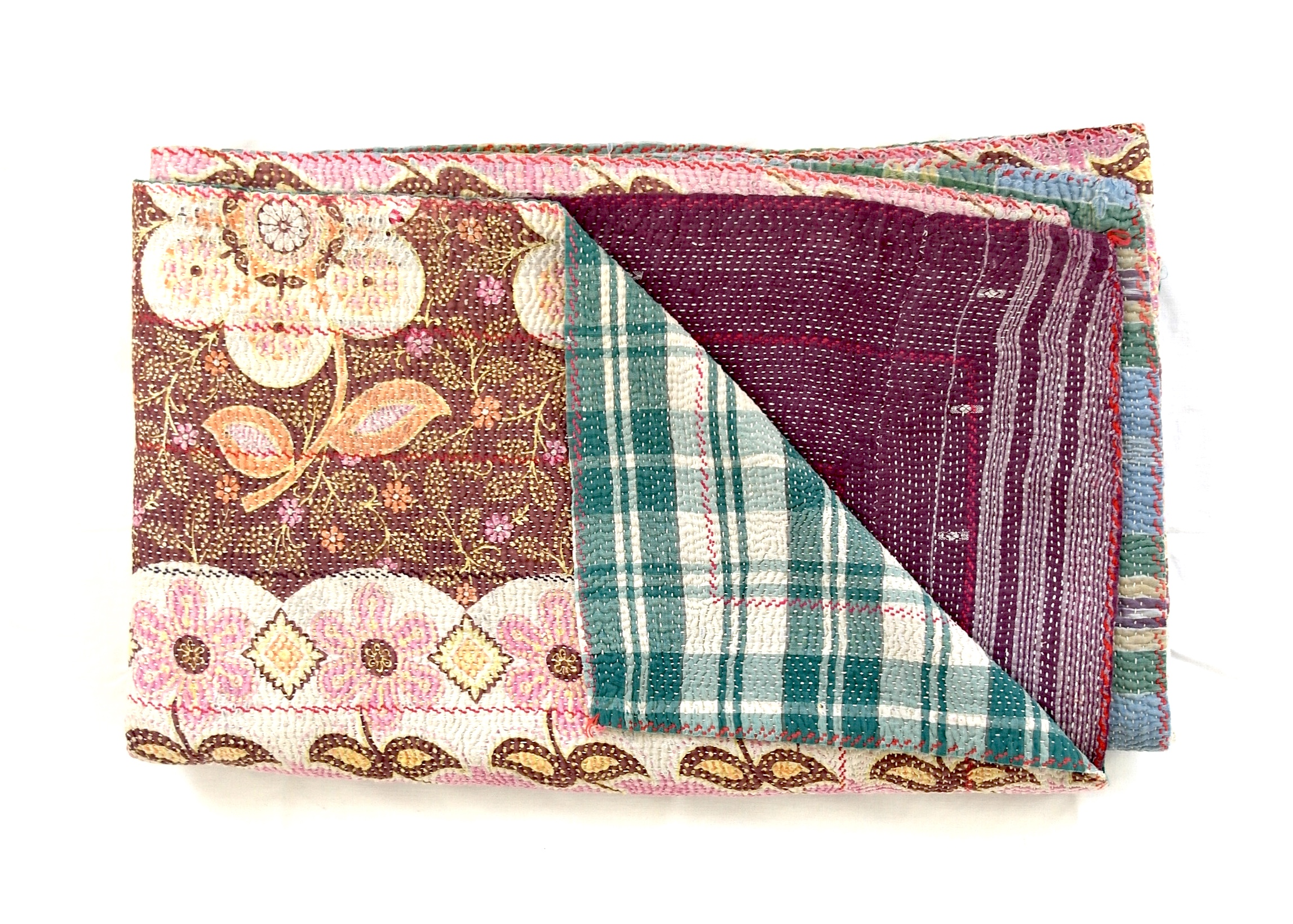 Kantha quilt with a bold pattern on one side and a checkered pattern on the reverse side.