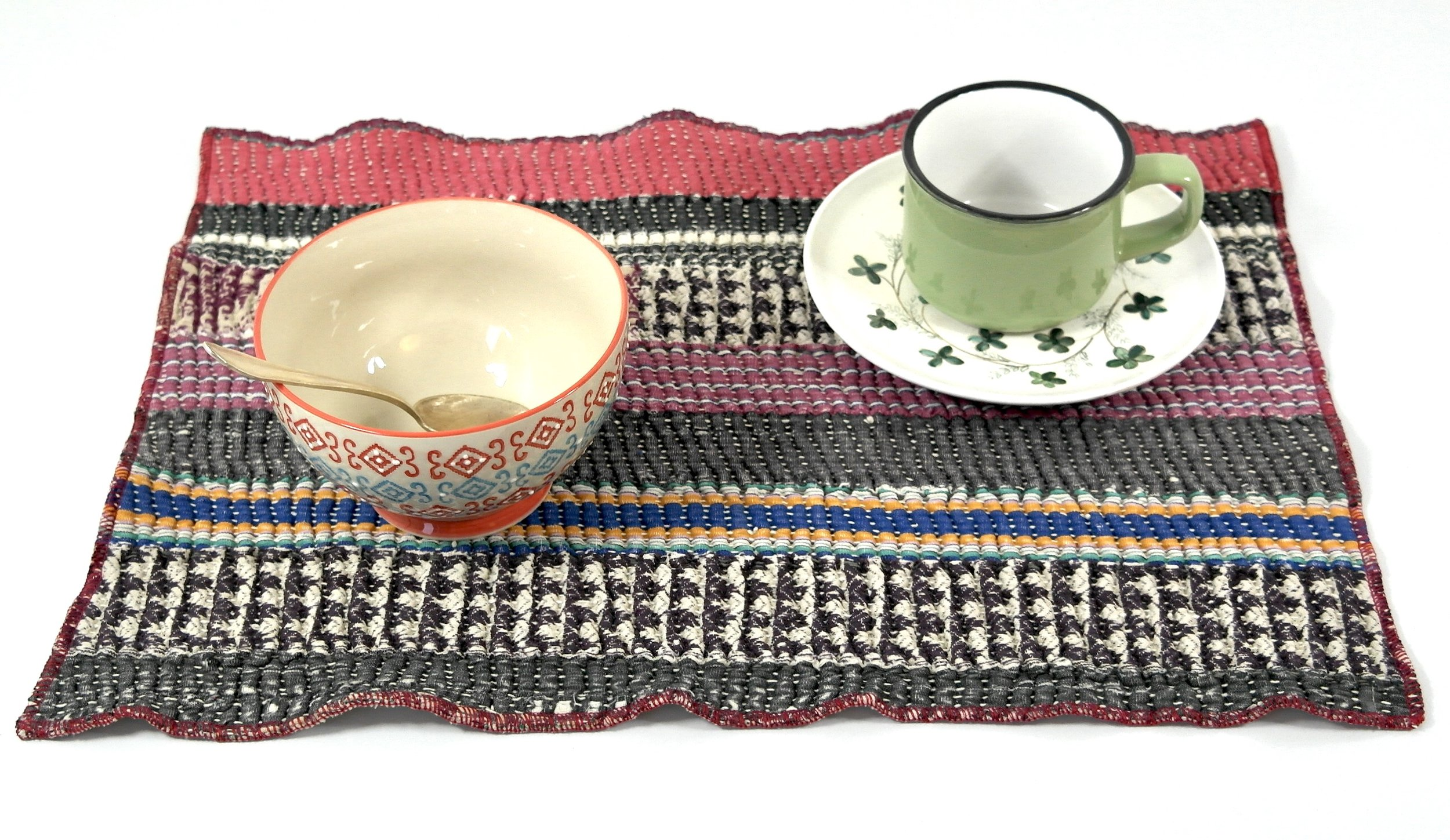 Kantha placemat made from old and thick Kantha quilt