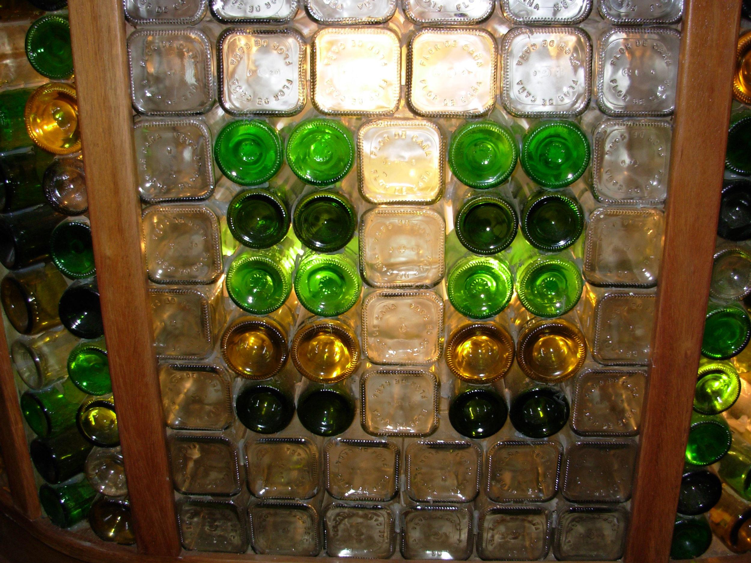 bar bottle wall in El Avion (restaurant in Quepos)