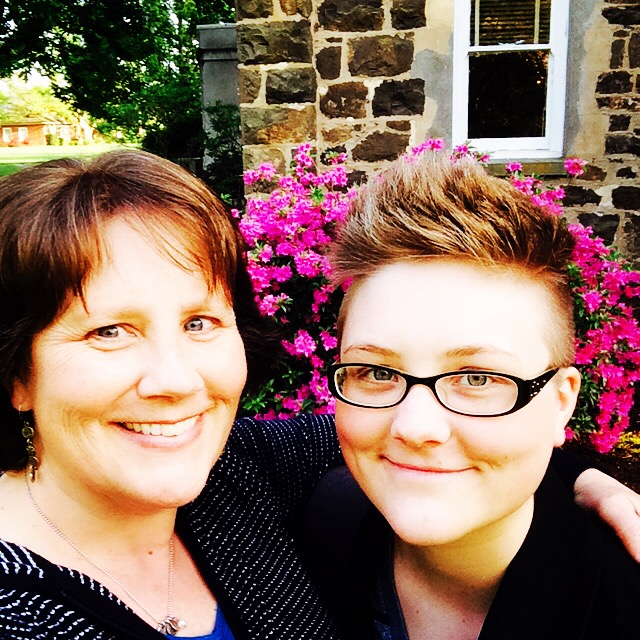 Proud mom and daughter on the campus of Linfield College.