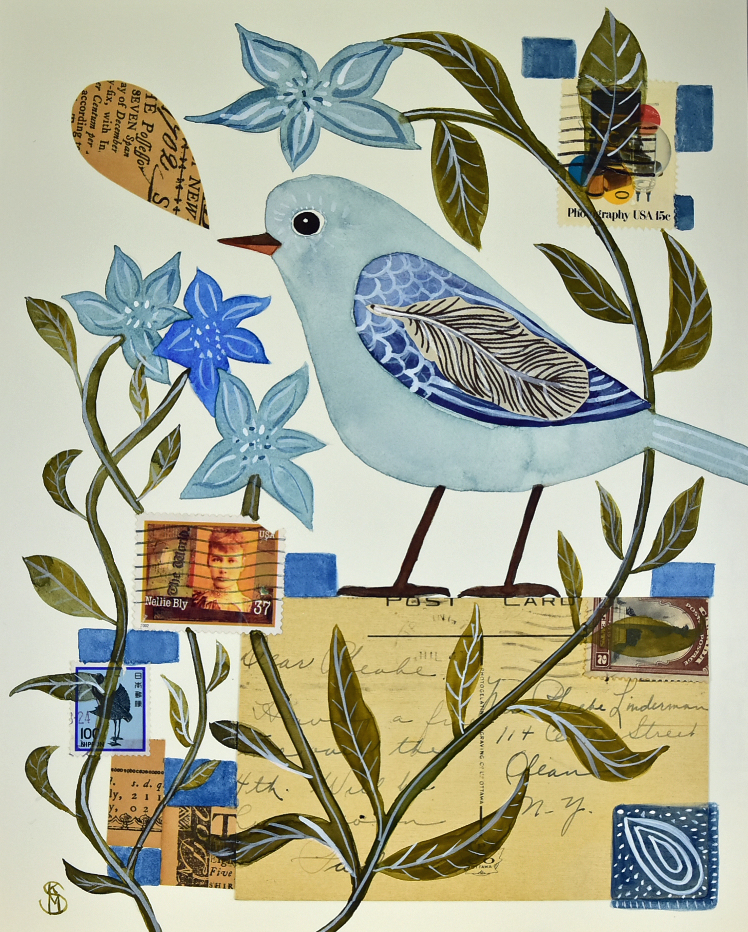 Mixed Media Collage & Watercolor Blue Bird