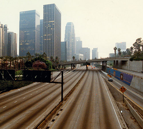 The only reason the freeway is this empty is because this picture was taken during the LA riots.
