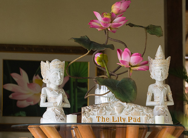 The Lily Pad , our new lounge and dining area, is now open. It is a large elegant space in a lush tropical setting overlooking our carefully tended food gardens, with the river, our day spa and beautiful rice paddies beyond.