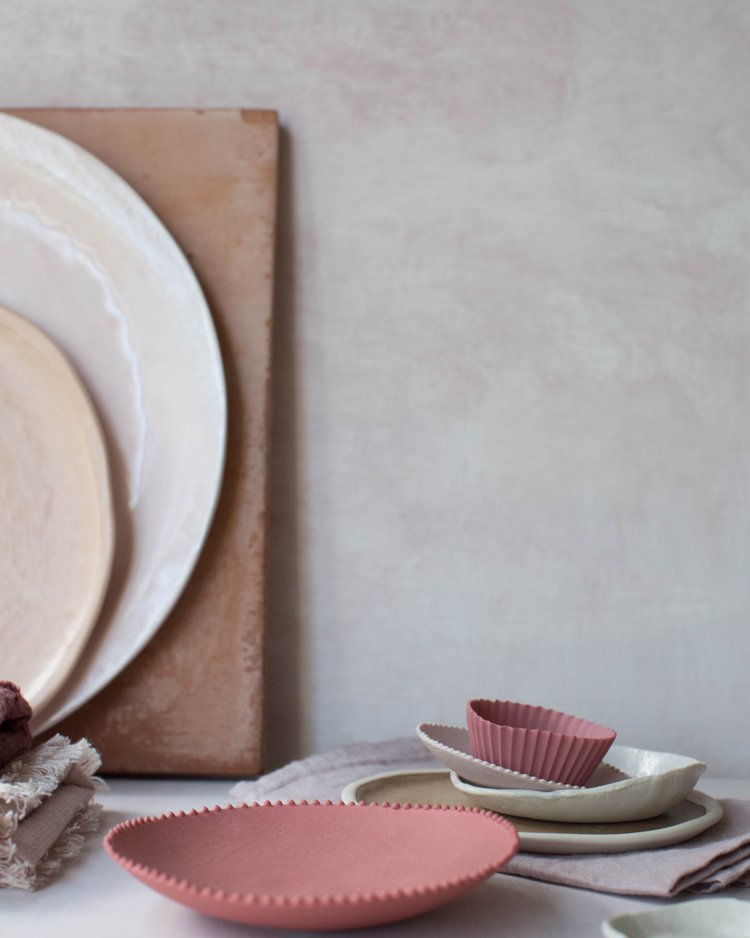 Source:  Deep Pink Ceramics ,  Mini Dish in Stack ,  Bottom Dish in Stack ,  Linens, Plates and Surfaces