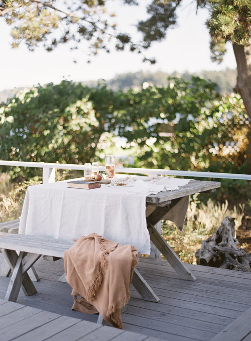 Source:  Tablecloth ,  Glasses, Wine Carafe,   Cheese Board , Caramel Throw Blanket (vintage)