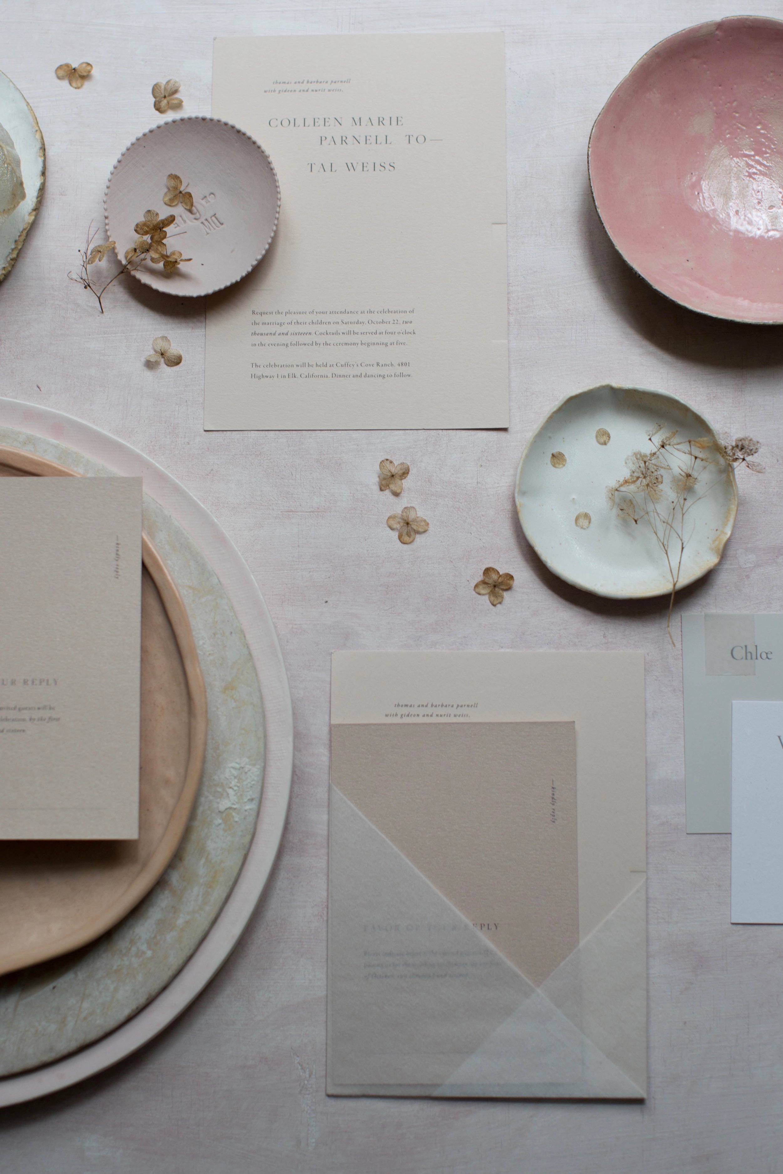 Source: (top right around)  Pink Ceramic Dish ,  Neutral Small Dish ,  Paper Goods ,  Styling Surface & Plates ,  Light Pink Dish