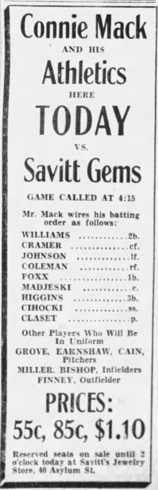 An advertisement for the game published in the Hartford Courant - 1933.