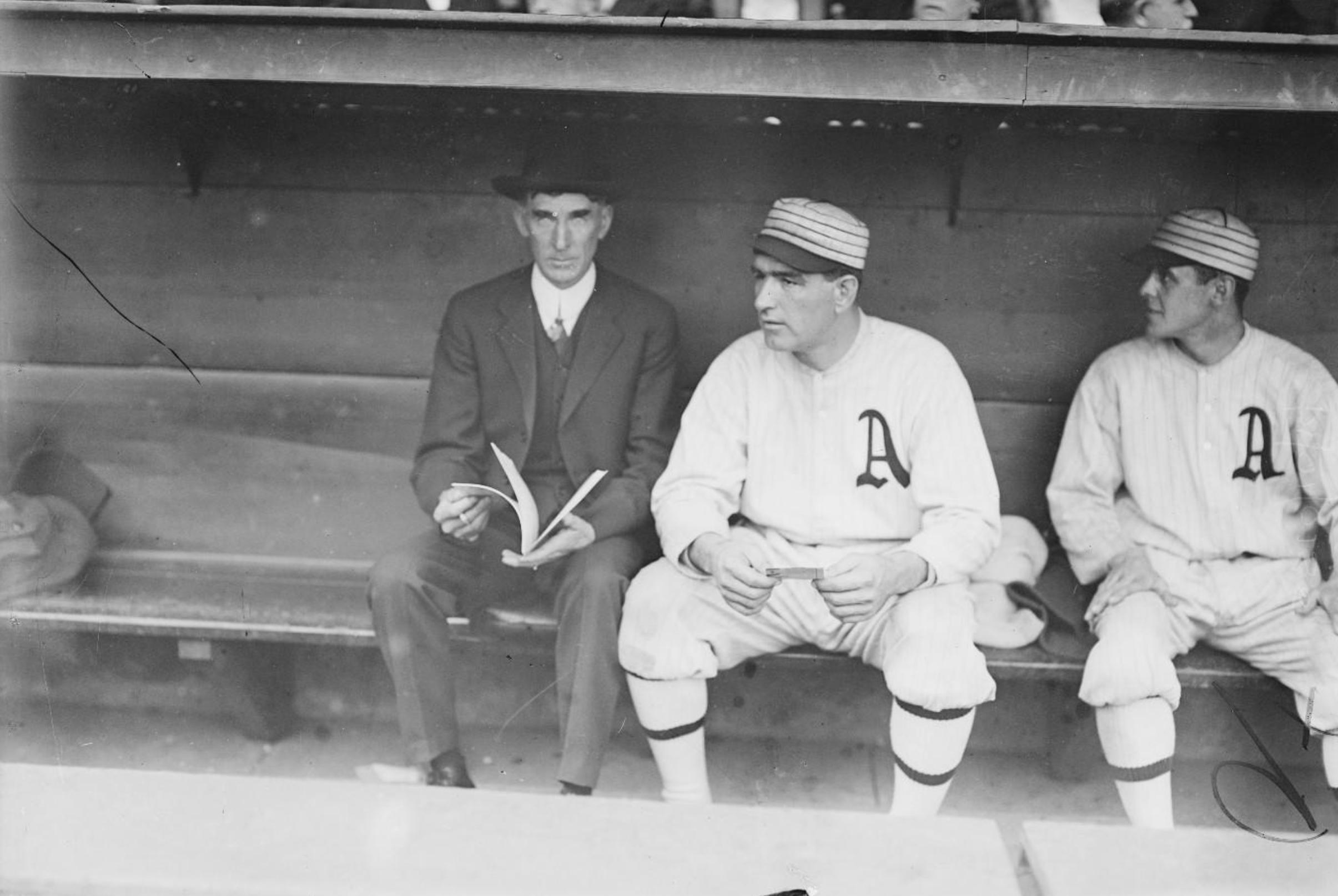 Connie Mack (left) managing his Philadelphia Athletics, 1914.