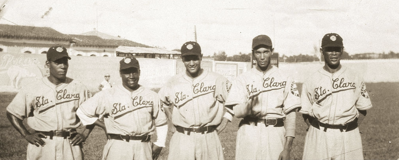 L to R: Indian Torres, Cocaina Garcia, Lazaro Salazar, Johnny Taylor, and Ray Brown, pitching staff for the Santa Clara Leopards baseball club of the Cuban League (winter ball) in 1938.