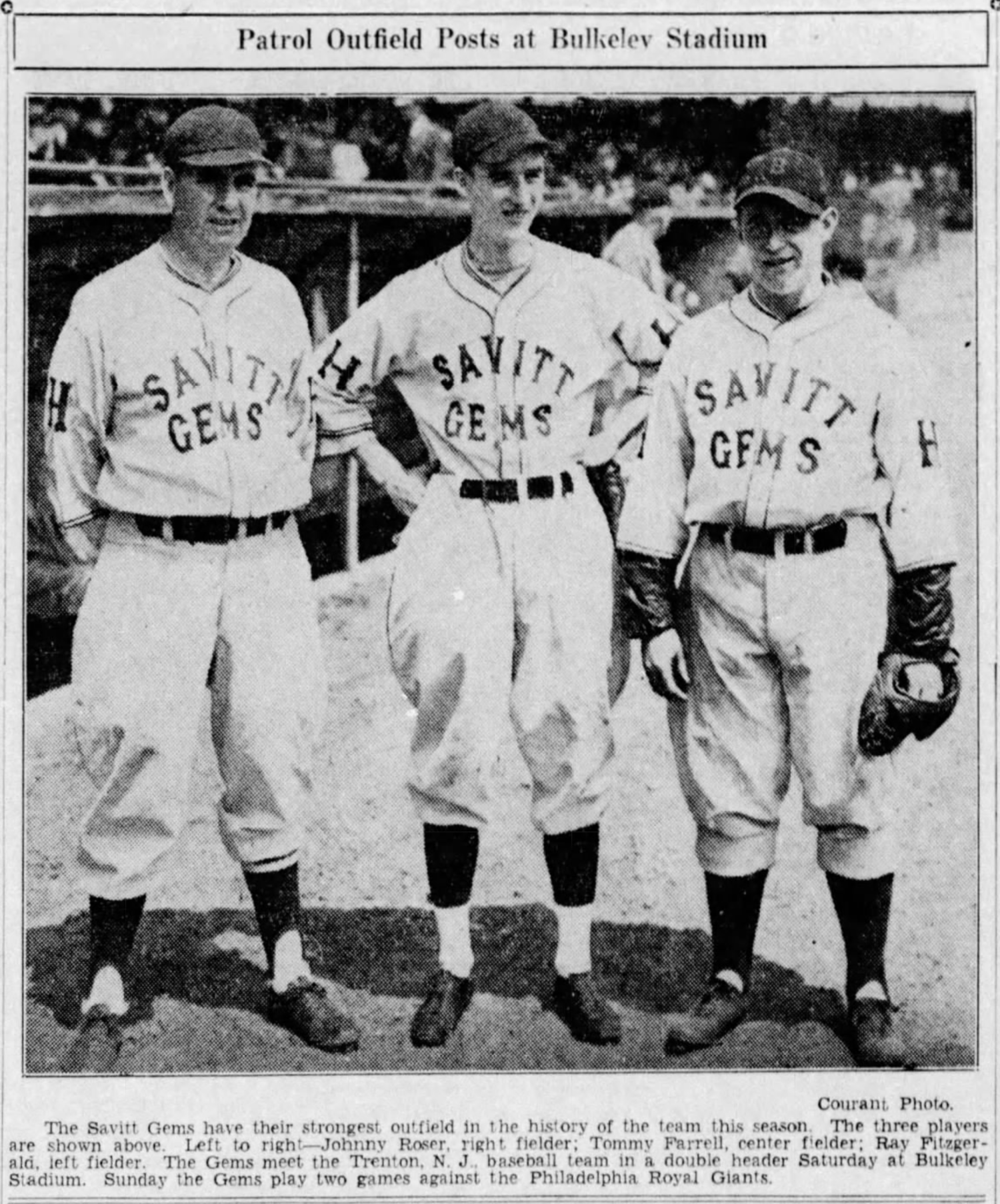 Outfielders of the Savitt Gems, 1936.