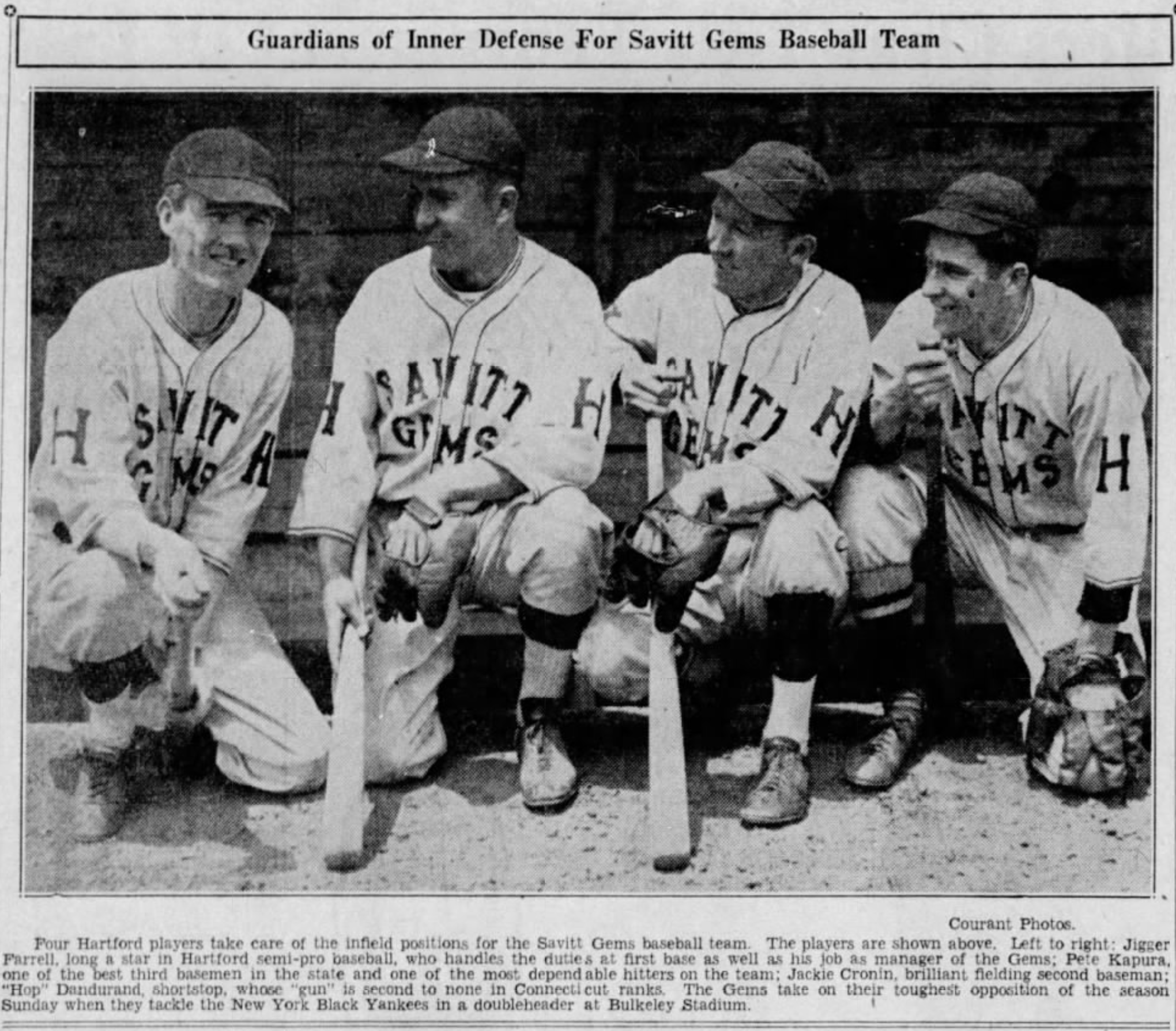 Infielders of the Savitt Gems, 1936.