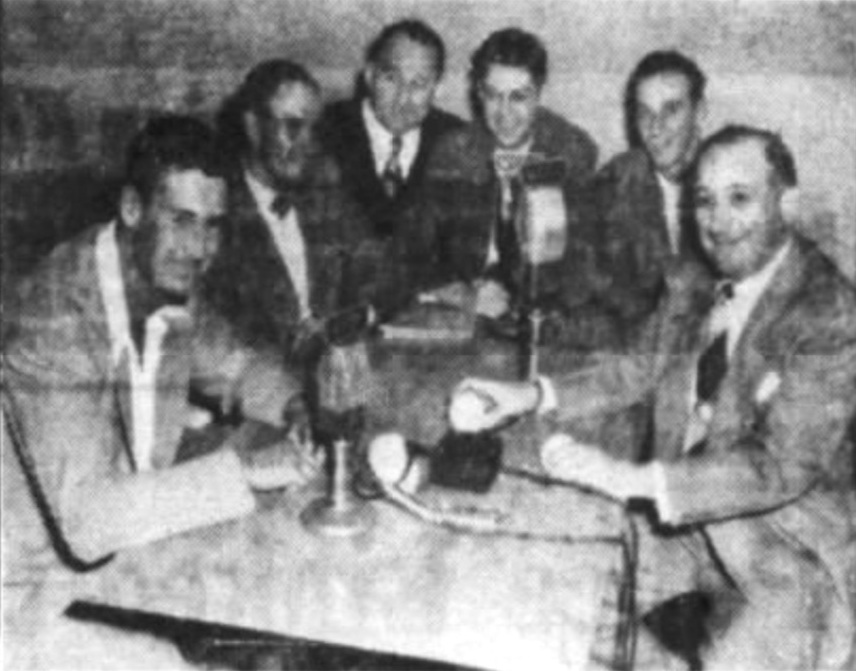 Ted Willams at a radio appearance, Hartford, 1942.