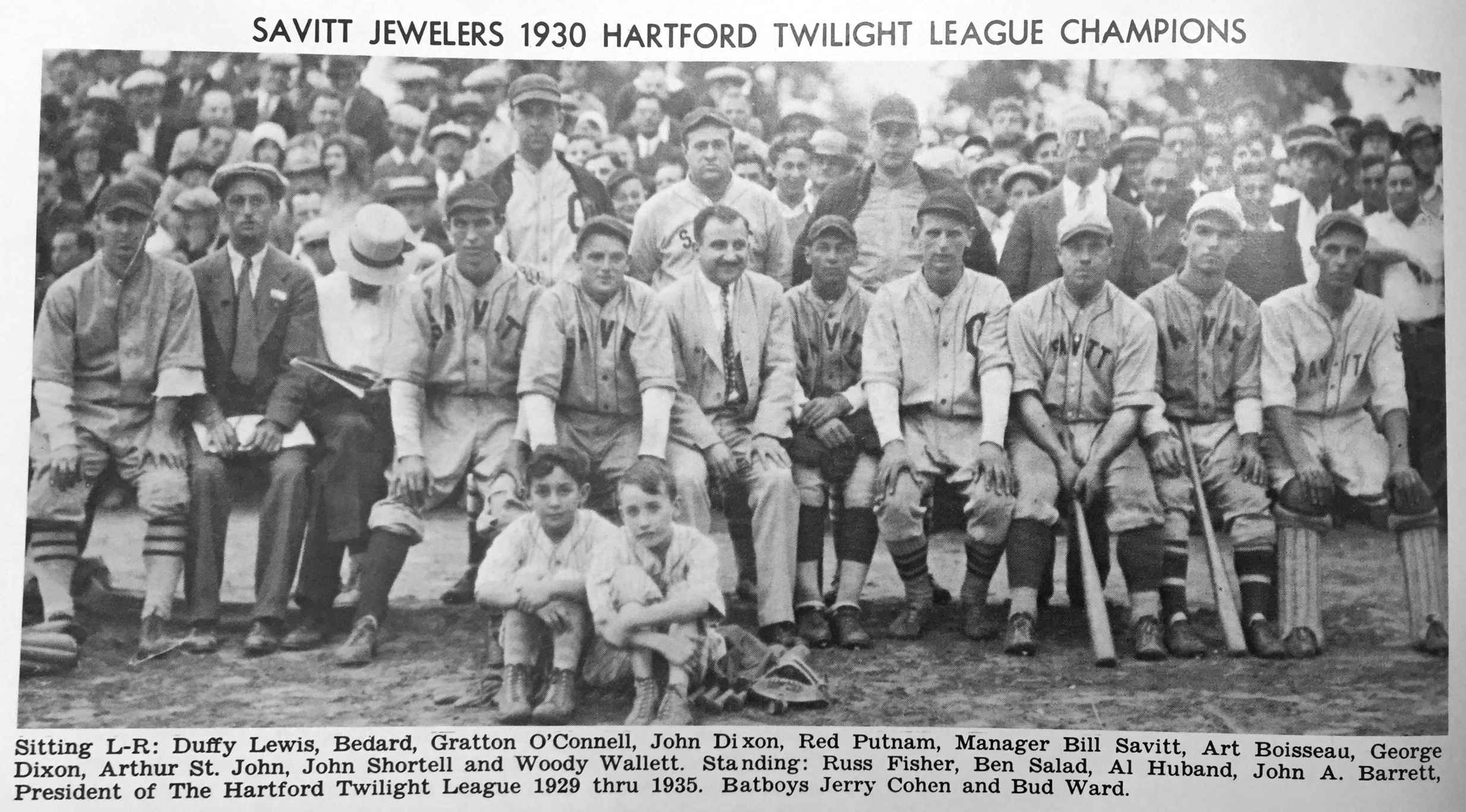 Savitt Gems, Champions of the Hartford Twilight League at Colt Park, 1930.