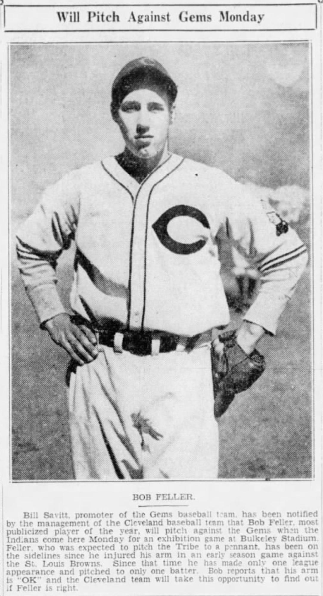 Bob Feller Cleveland Indians, 1937.