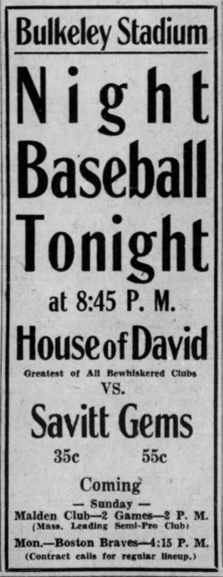 Savitt Gems vs. House of David, 1933.