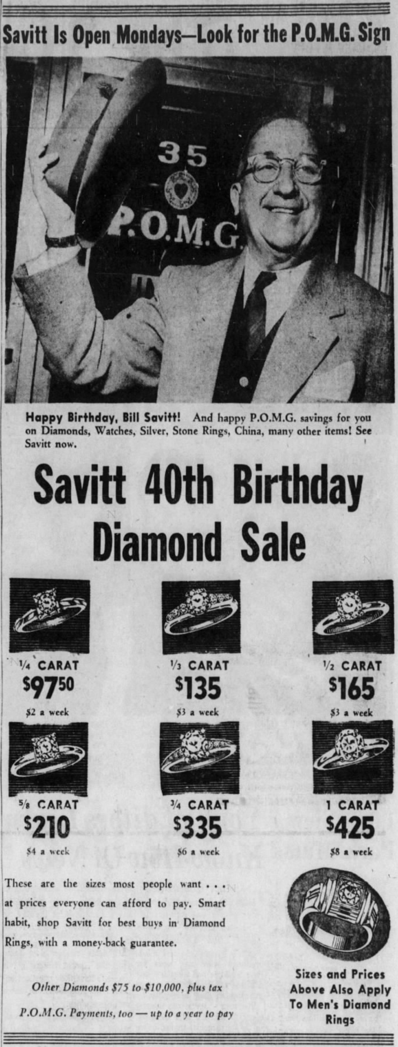 Bill Savitt, Savitt Jewelers, 1959.