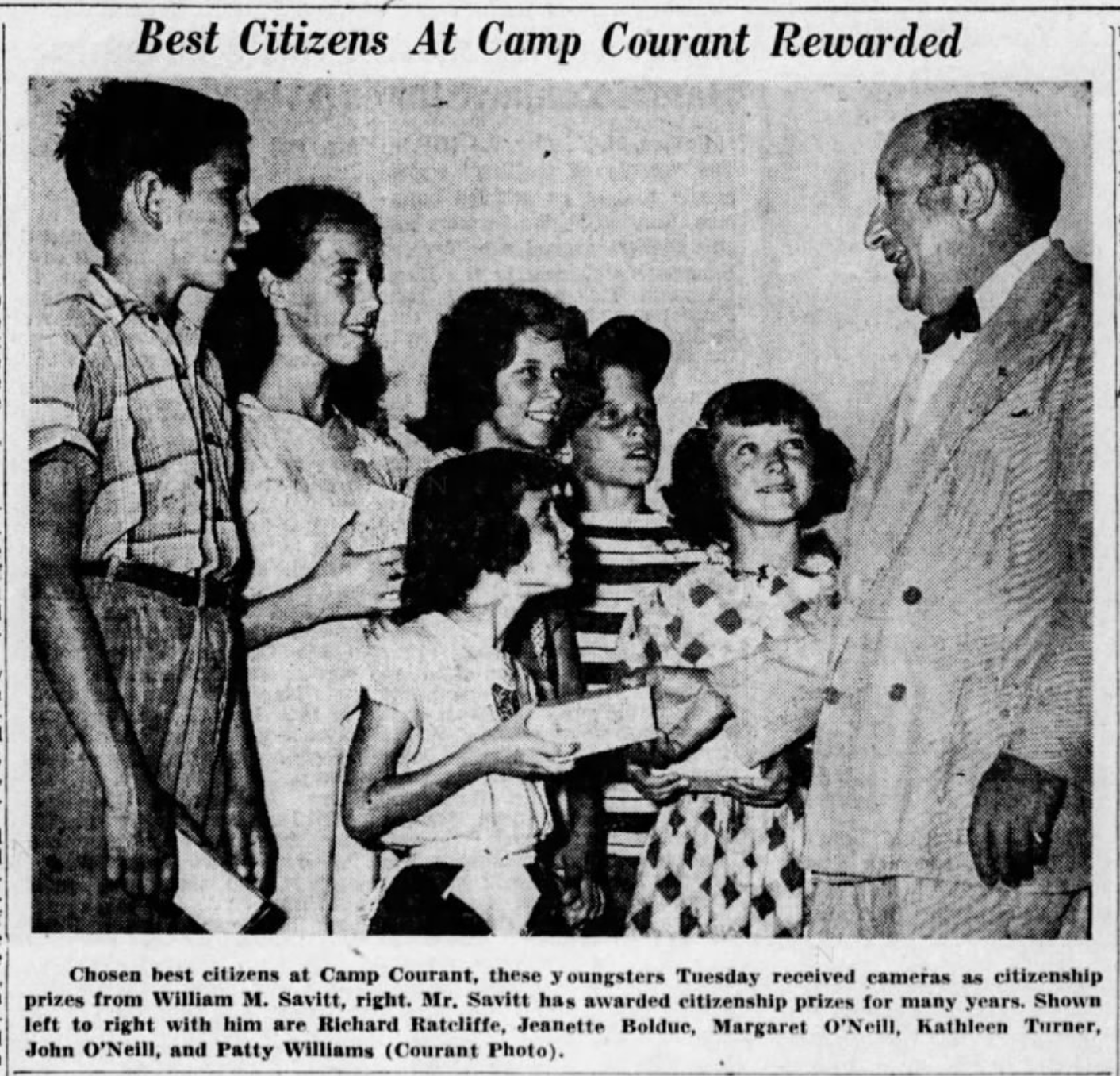Bill Savitt donating to Camp Courant, 1949.