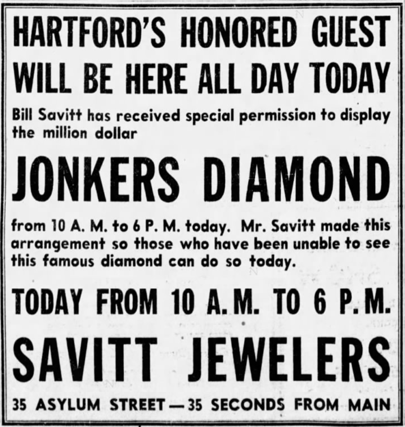 Savitt Jewelers, Jonkers Diamond advertisement, 1945.