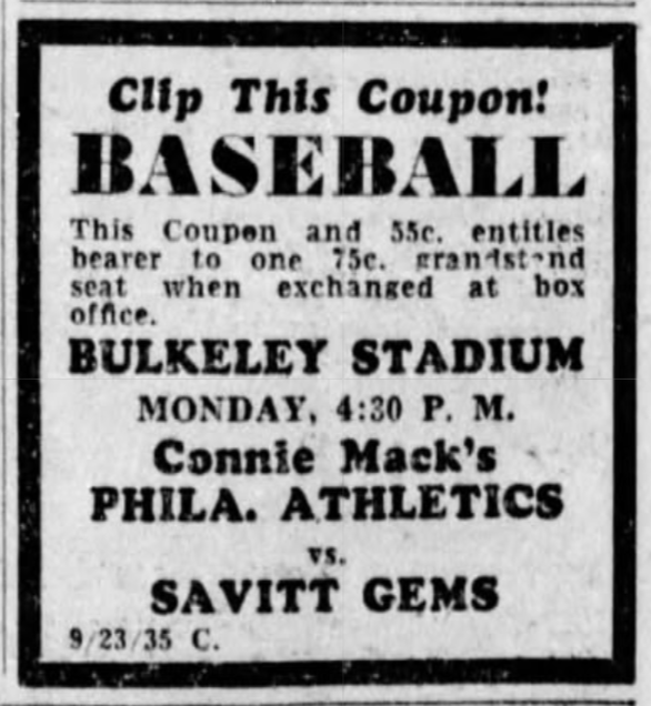 Savitt Gems vs. Philadelphia Athletics, 1935.