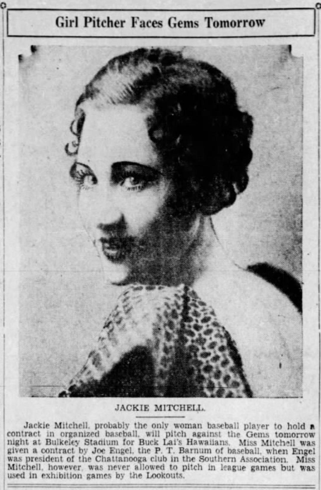 Jackie Mitchell, 1933.