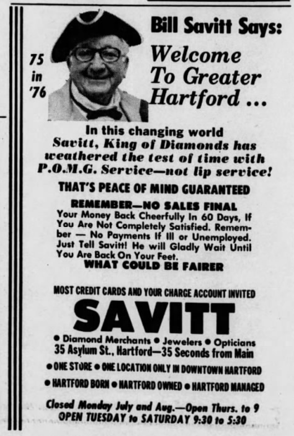 Savitt Jewelers advertisement, 1976.