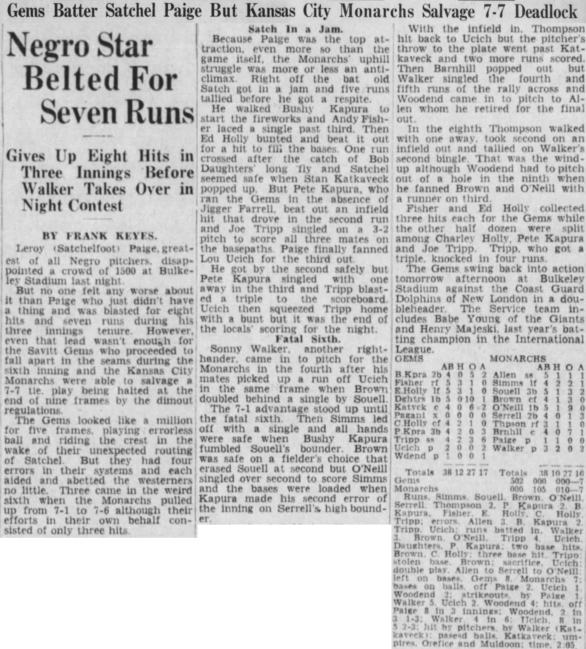Hartford Courant excerpt, 1943.
