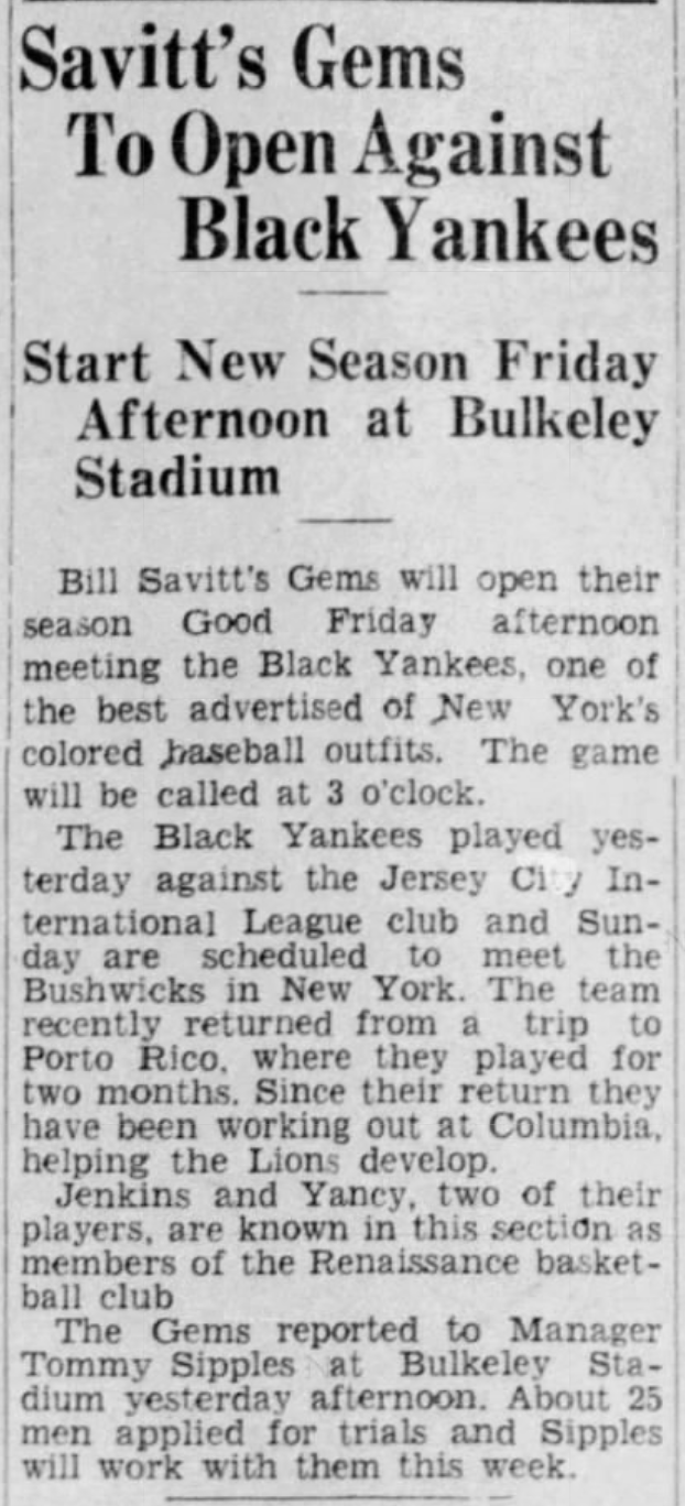 Savitt Gems vs. New York Black Yankees, 1933.