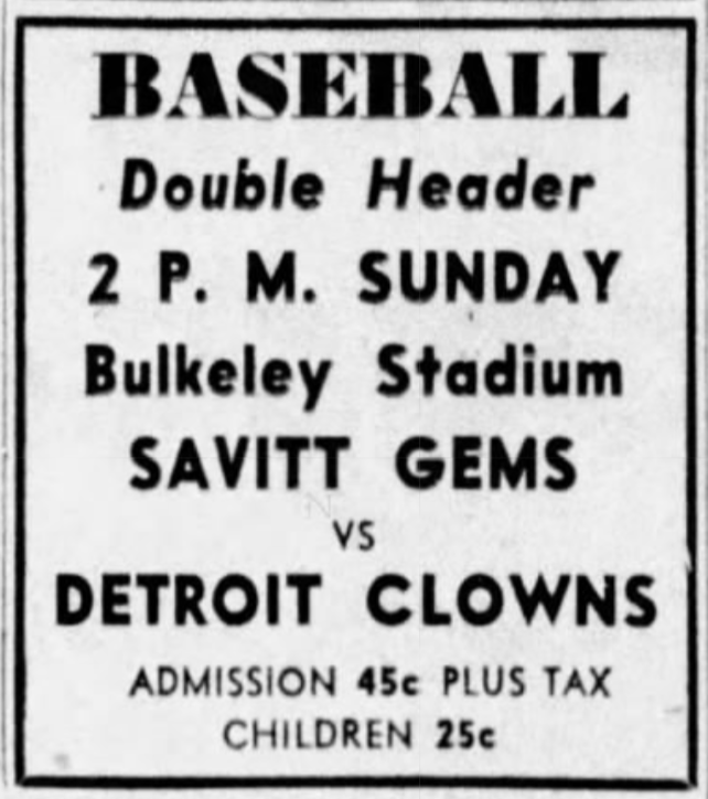 Savitt Gems vs. Detroit Clowns, 1941.