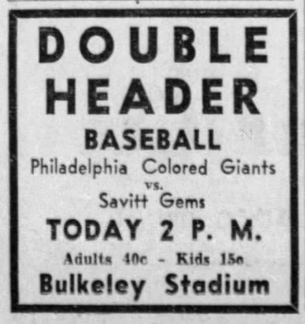 Savitt Gems vs. Philadelphia Colored Giants, 1938.