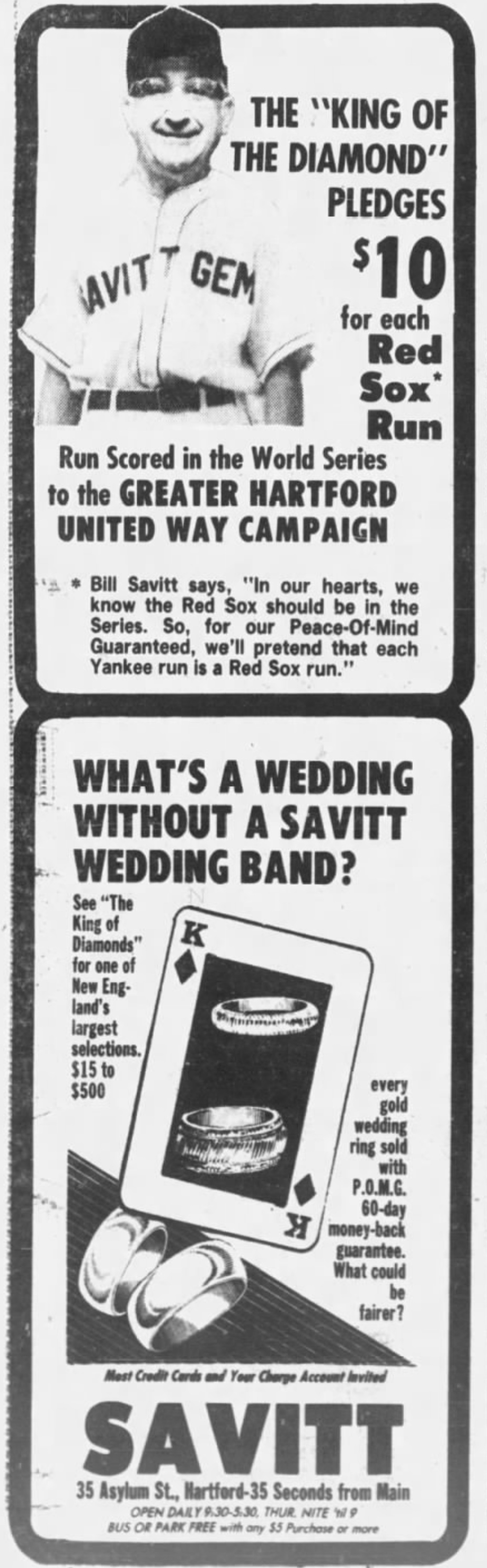 Savitt Jewelers advertisement, 1977.