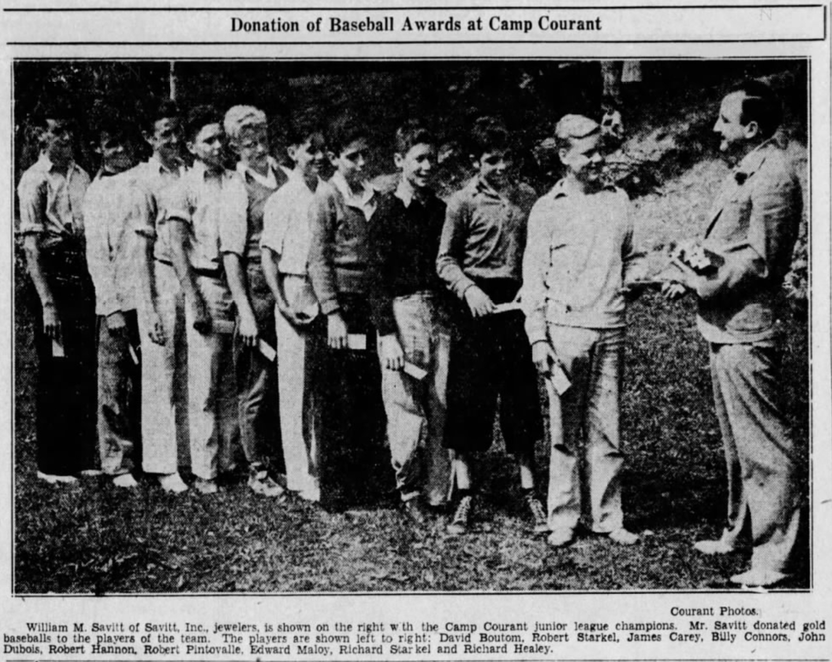 Bill Savitt awards Camp Courant champions, 1934.