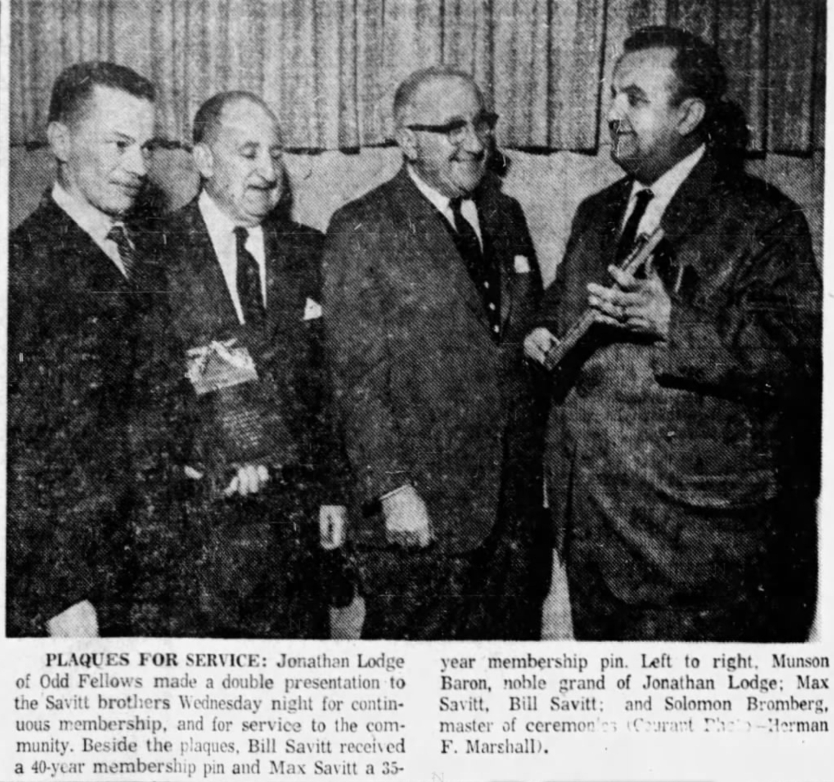 Bill Savitt receives Jonathan Lodge of Odd Fellows Award, 1962