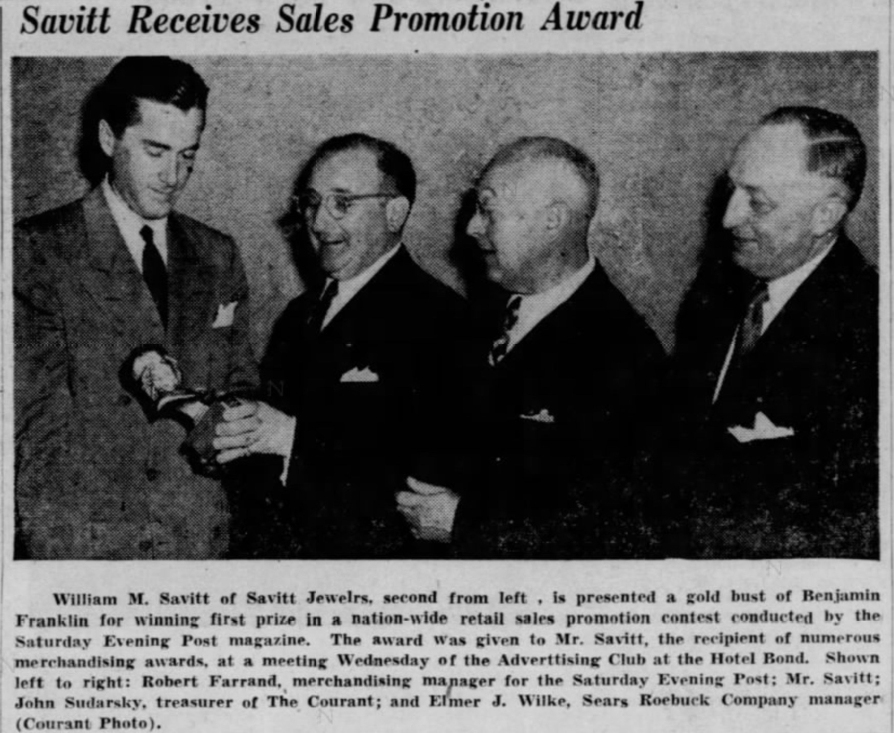 Bill Savitt accepts marketing award, 1951.