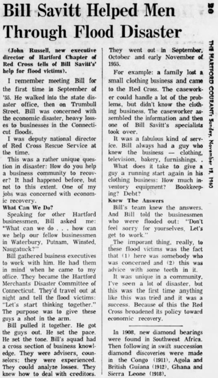 Hartford Courant excerpt, 1960.