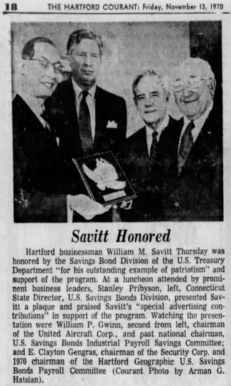 Bill Savitt honored by Savings Bond Division of the U.S. Treasury, 1970.