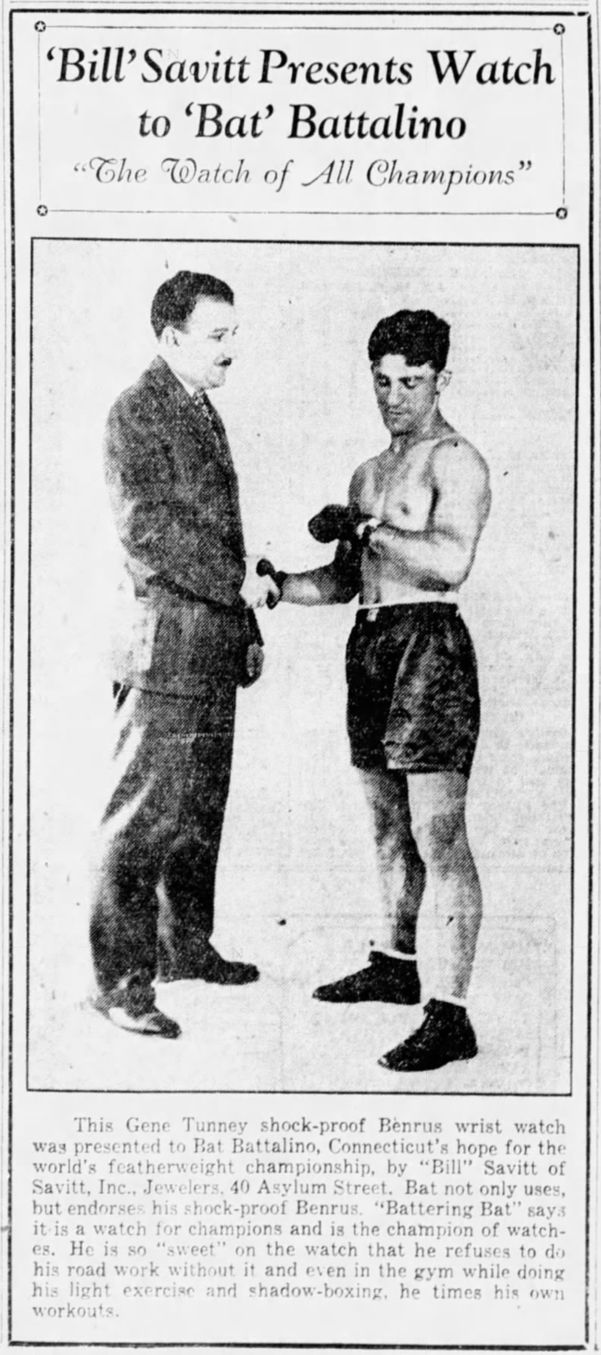 Savitt with Hartford boxing champion, Bat Battalino, 1929.