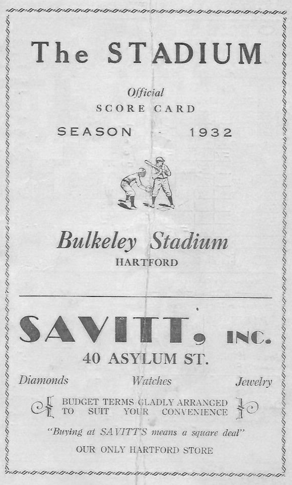 Bulkeley Stadium score card, 1932.