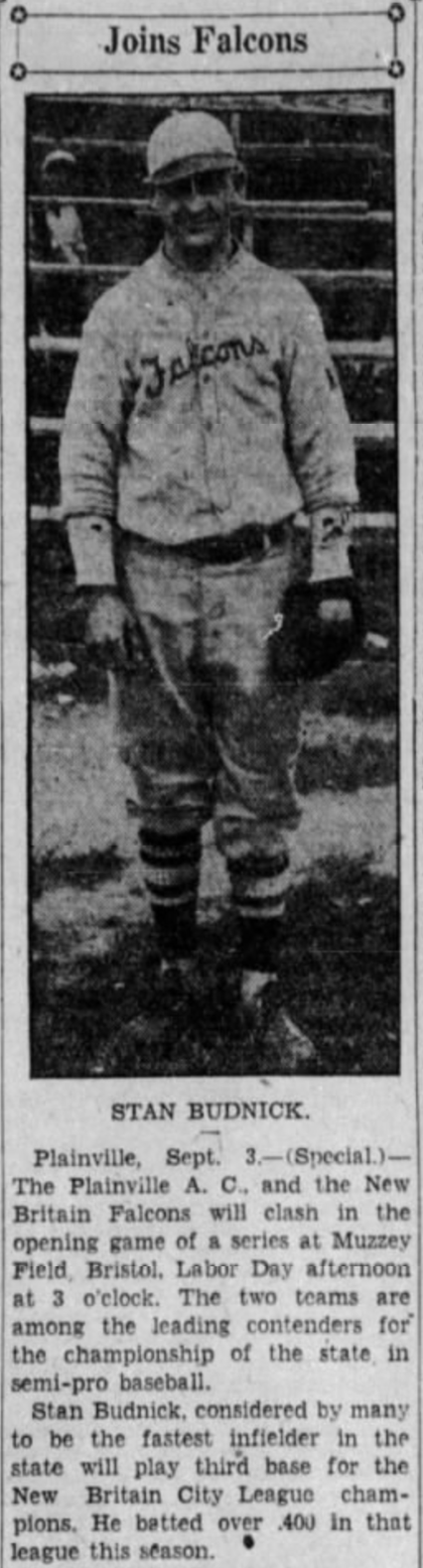 Stan Budnick, New Britain Falcons, 1932.