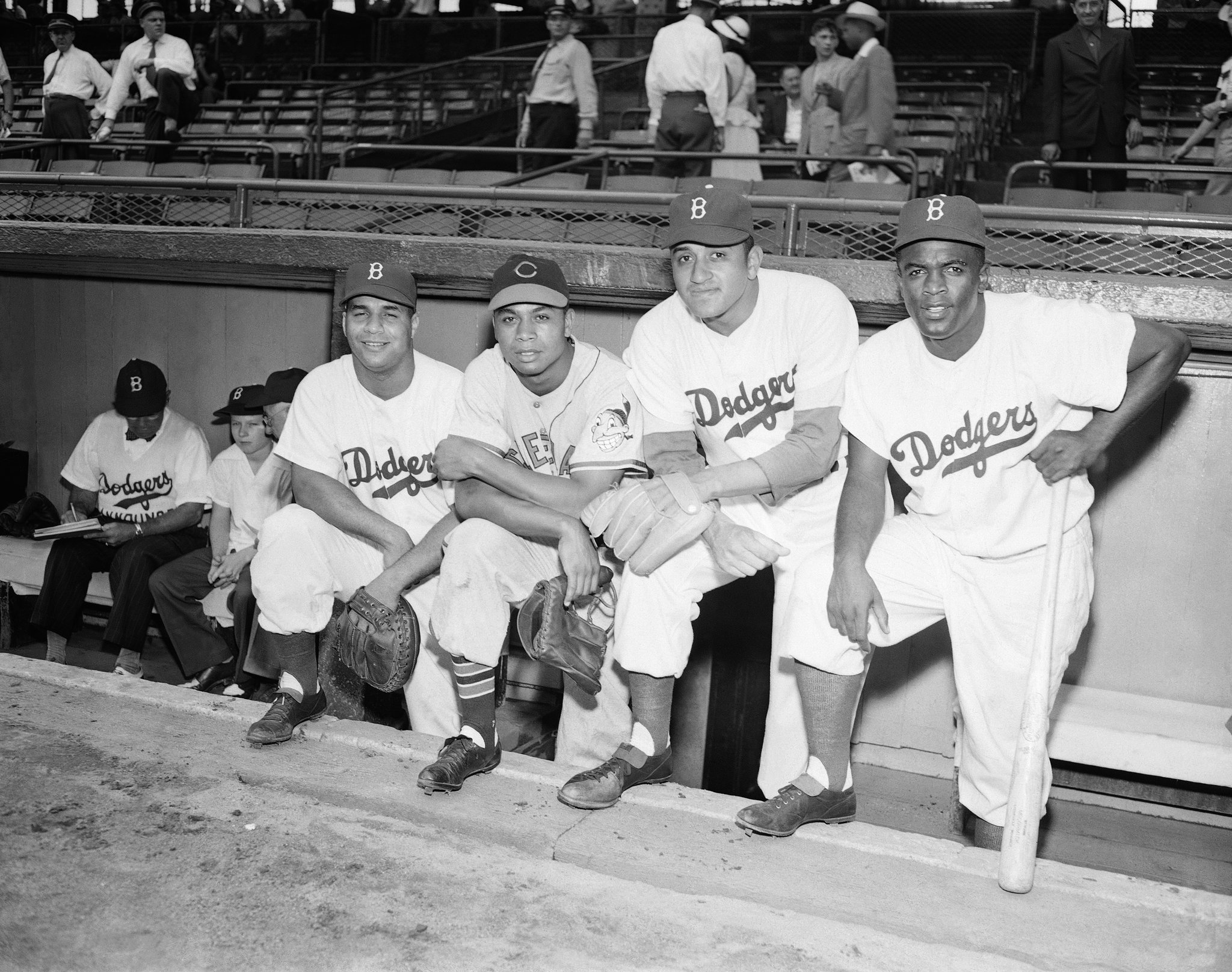 L to R: Roy Campanella, Larry Doby, Don Newcombe and Jackie Robinson, MLB All-Star Game, 1949.