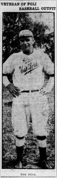 Rex Islieb, Shortstop, Hartford Poli's Baseball, 1917.