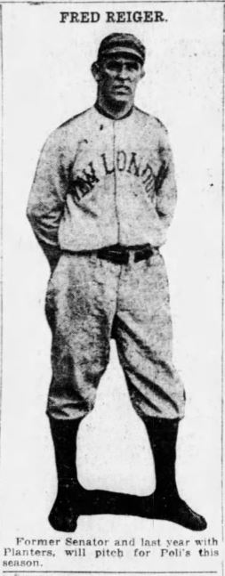 Fred Reiger, Pitcher, Hartford Poli's, 1918.