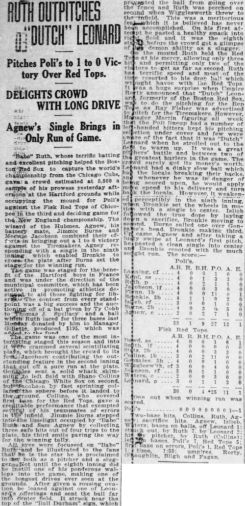 Babe Ruth earns a win for the Hartford Poli's, 1918.