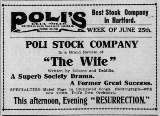 Poli's Stock Company advertisement, Hartford Courant, 1906