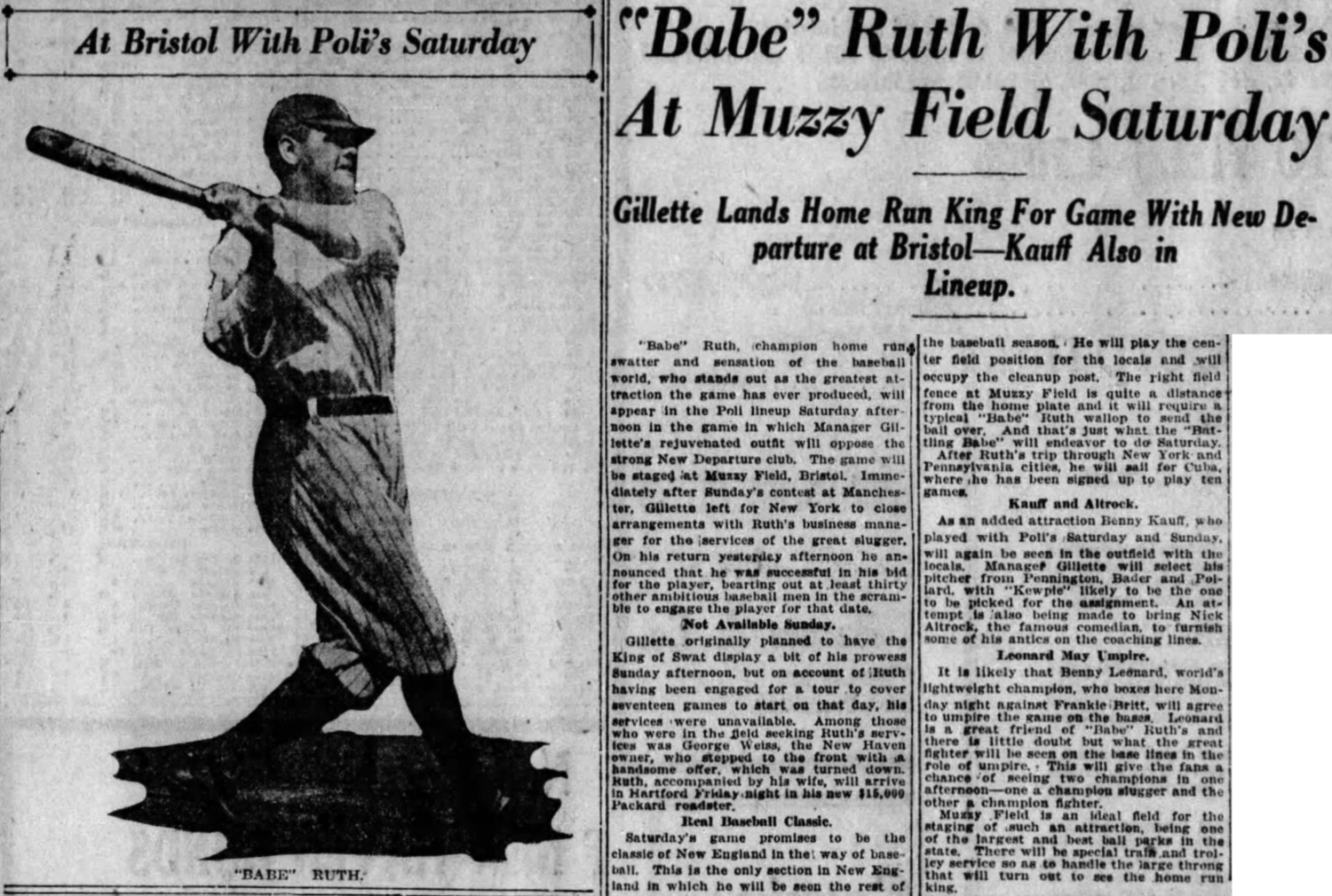 Babe Ruth comes to Muzzy Field, 1920.