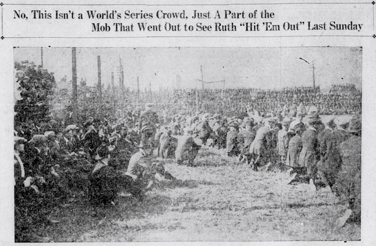 A crowd of more than 6,000 attends a Hartford Poli's vs. New Britain Pioneers game featuring Babe Ruth at Poli Field, East Hartford, Connecticut, 1919.