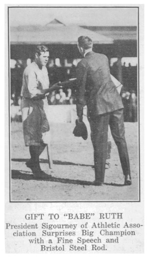 Ruth Accepts Honorary Gift at Muzzy Field, 1920.