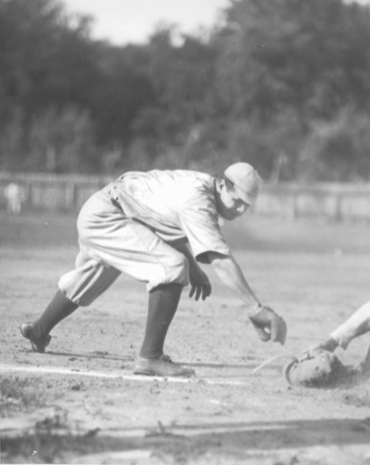 Ruth Playing First Base at Muzzy Field, 1920.