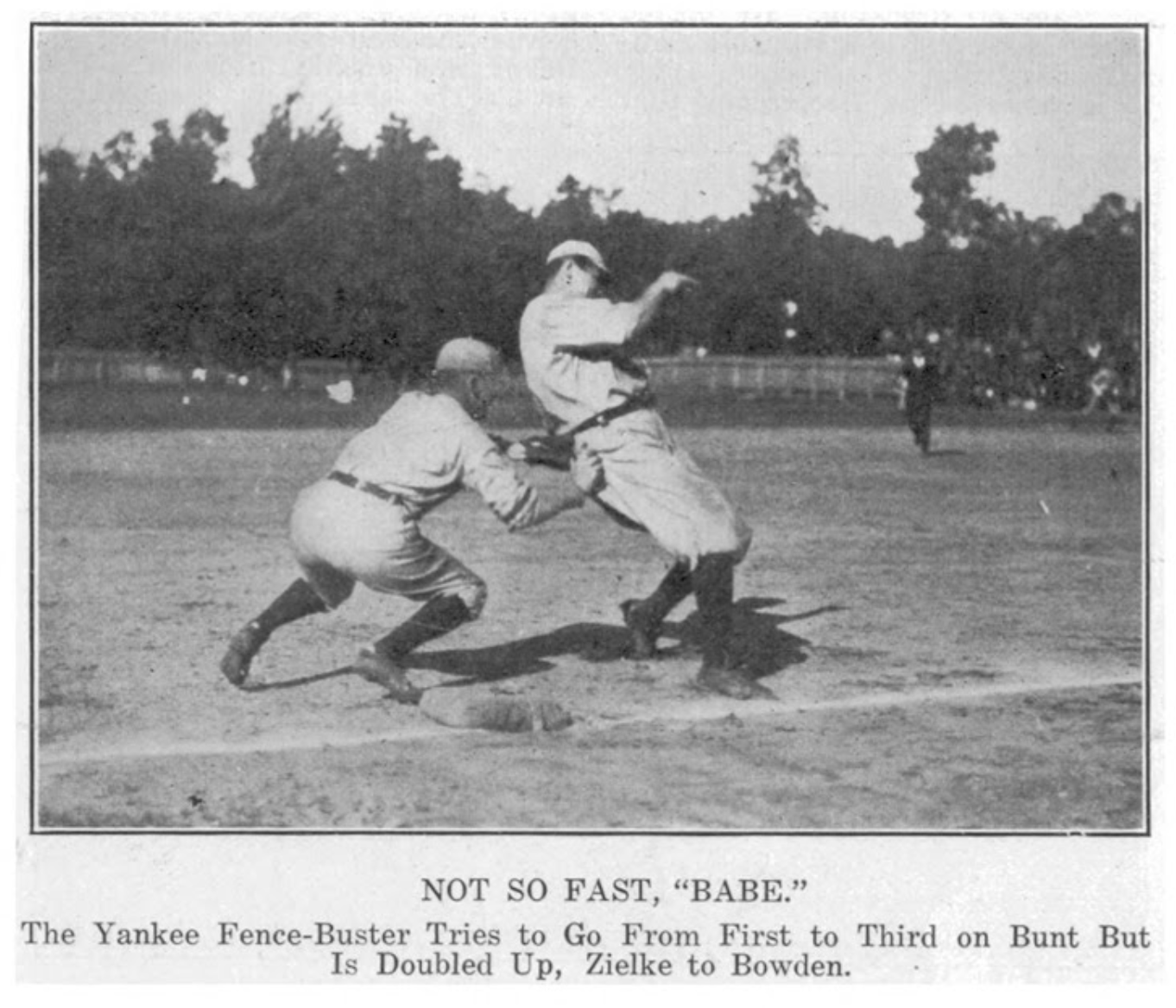 Ruth Tagged Out at Muzzy Field, 1920.