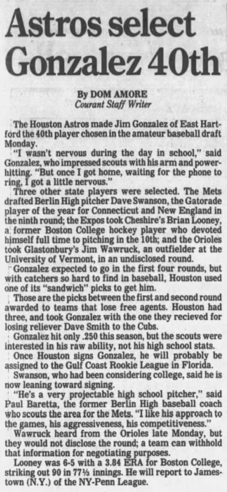 Hartford Courant excerpt, 1991.