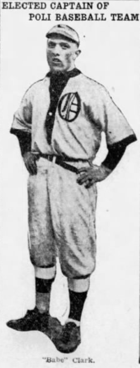 Babe Clark, Captain and First Baseman, Hartford Poli's, 1916.
